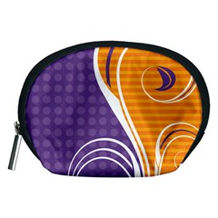 Leaf Polka Dot Purple Orange Accessory Pouches (medium)  by Mariart