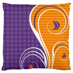 Leaf Polka Dot Purple Orange Standard Flano Cushion Case (two Sides) by Mariart
