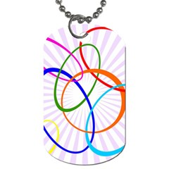 Abstract Background With Interlocking Oval Shapes Dog Tag (one Side) by Nexatart