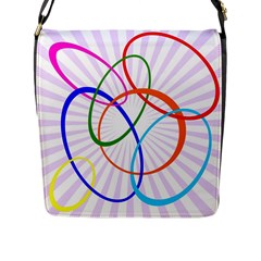 Abstract Background With Interlocking Oval Shapes Flap Messenger Bag (l)