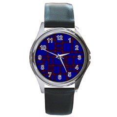 Line Plaid Red Blue Round Metal Watch by Mariart