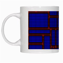 Line Plaid Red Blue White Mugs by Mariart