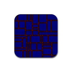 Line Plaid Red Blue Rubber Coaster (square)  by Mariart