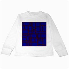 Line Plaid Red Blue Kids Long Sleeve T Shirts by Mariart