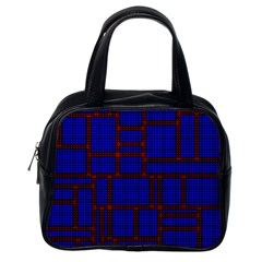 Line Plaid Red Blue Classic Handbags (one Side) by Mariart