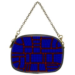 Line Plaid Red Blue Chain Purses (one Side)  by Mariart