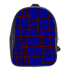 Line Plaid Red Blue School Bags(large)  by Mariart