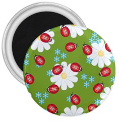 Insect Flower Floral Animals Star Green Red Sunflower 3  Magnets