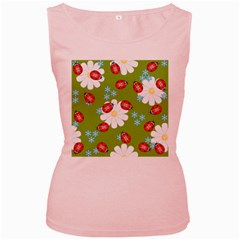 Insect Flower Floral Animals Star Green Red Sunflower Women s Pink Tank Top