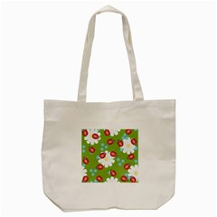 Insect Flower Floral Animals Star Green Red Sunflower Tote Bag (cream) by Mariart