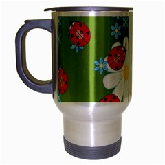 Insect Flower Floral Animals Star Green Red Sunflower Travel Mug (silver Gray) by Mariart
