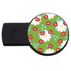 Insect Flower Floral Animals Star Green Red Sunflower Usb Flash Drive Round (4 Gb) by Mariart