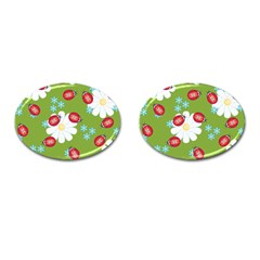 Insect Flower Floral Animals Star Green Red Sunflower Cufflinks (oval) by Mariart