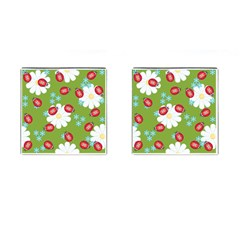 Insect Flower Floral Animals Star Green Red Sunflower Cufflinks (square)