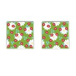 Insect Flower Floral Animals Star Green Red Sunflower Cufflinks (Square) Front(Pair)
