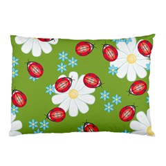 Insect Flower Floral Animals Star Green Red Sunflower Pillow Case by Mariart