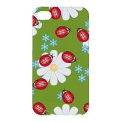Insect Flower Floral Animals Star Green Red Sunflower Apple Iphone 4/4s Hardshell Case by Mariart