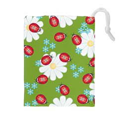 Insect Flower Floral Animals Star Green Red Sunflower Drawstring Pouches (extra Large) by Mariart
