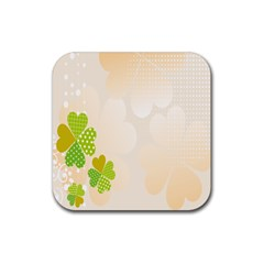 Leaf Polka Dot Green Flower Star Rubber Coaster (square)  by Mariart