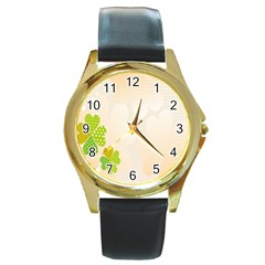 Leaf Polka Dot Green Flower Star Round Gold Metal Watch by Mariart
