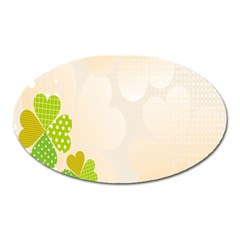 Leaf Polka Dot Green Flower Star Oval Magnet by Mariart