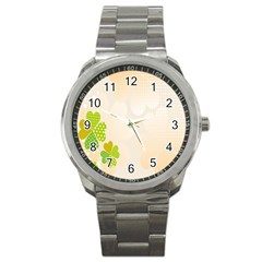 Leaf Polka Dot Green Flower Star Sport Metal Watch by Mariart
