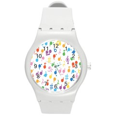 Musical Notes Round Plastic Sport Watch (m) by Mariart