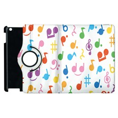 Musical Notes Apple Ipad 3/4 Flip 360 Case by Mariart