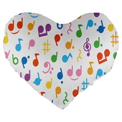 Musical Notes Large 19  Premium Flano Heart Shape Cushions by Mariart