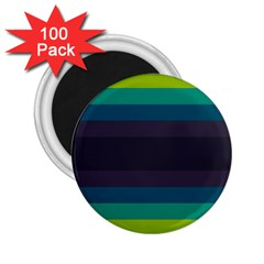 Neon Stripes Line Horizon Color Rainbow Yellow Blue Purple Black 2 25  Magnets (100 Pack)  by Mariart