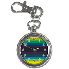 Neon Stripes Line Horizon Color Rainbow Yellow Blue Purple Black Key Chain Watches by Mariart