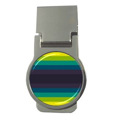 Neon Stripes Line Horizon Color Rainbow Yellow Blue Purple Black Money Clips (round)  by Mariart