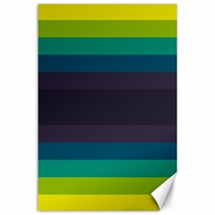 Neon Stripes Line Horizon Color Rainbow Yellow Blue Purple Black Canvas 24  X 36  by Mariart