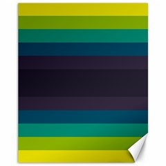 Neon Stripes Line Horizon Color Rainbow Yellow Blue Purple Black Canvas 11  X 14   by Mariart