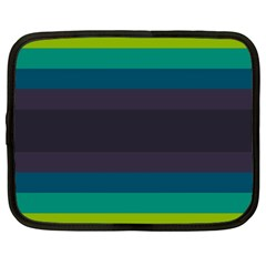 Neon Stripes Line Horizon Color Rainbow Yellow Blue Purple Black Netbook Case (xxl)  by Mariart