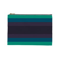 Neon Stripes Line Horizon Color Rainbow Yellow Blue Purple Black Cosmetic Bag (large)  by Mariart
