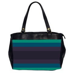 Neon Stripes Line Horizon Color Rainbow Yellow Blue Purple Black Office Handbags (2 Sides)  by Mariart