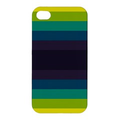 Neon Stripes Line Horizon Color Rainbow Yellow Blue Purple Black Apple Iphone 4/4s Hardshell Case by Mariart