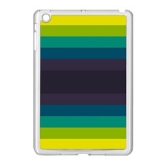Neon Stripes Line Horizon Color Rainbow Yellow Blue Purple Black Apple Ipad Mini Case (white) by Mariart