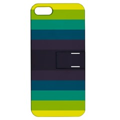 Neon Stripes Line Horizon Color Rainbow Yellow Blue Purple Black Apple Iphone 5 Hardshell Case With Stand by Mariart