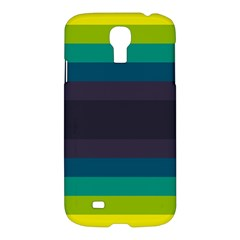 Neon Stripes Line Horizon Color Rainbow Yellow Blue Purple Black Samsung Galaxy S4 I9500/i9505 Hardshell Case by Mariart