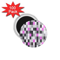 Pink Grey Black Plaid Original 1 75  Magnets (100 Pack)  by Mariart