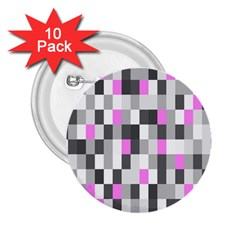 Pink Grey Black Plaid Original 2 25  Buttons (10 Pack)