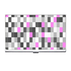 Pink Grey Black Plaid Original Business Card Holders by Mariart