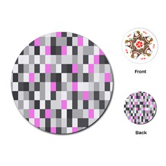 Pink Grey Black Plaid Original Playing Cards (round)  by Mariart