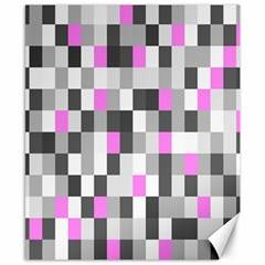 Pink Grey Black Plaid Original Canvas 8  X 10  by Mariart