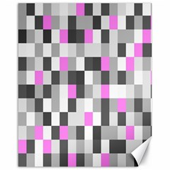 Pink Grey Black Plaid Original Canvas 16  X 20   by Mariart