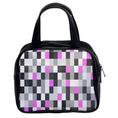 Pink Grey Black Plaid Original Classic Handbags (2 Sides) by Mariart