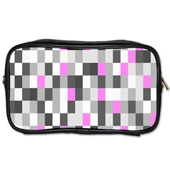 Pink Grey Black Plaid Original Toiletries Bags by Mariart