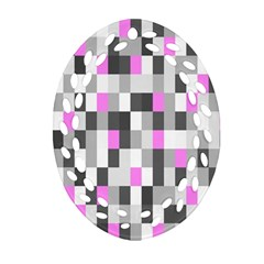 Pink Grey Black Plaid Original Oval Filigree Ornament (two Sides) by Mariart